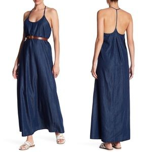 Love Stitch Halter Chambray Maxi Dress